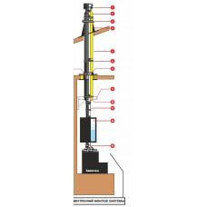 Комплект эмалированного дымохода 115 мм 6 метра для двухэтажного дома или бани через крышу