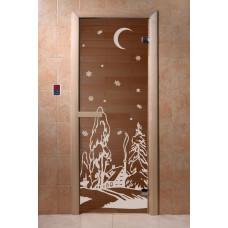 Дверь банная  Dw 1900*700, 2 петли, кор. хвоя, Бронза с рисунком, 6мм