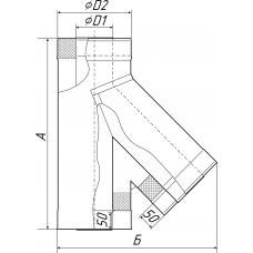 Тройник - сэндвич 135° «Супер» диаметр 115/215 мм 0,8/0,5 мм нерж/оц TMF
