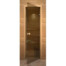 Стеклянные двери для бани и сауны Серия «Кноб» Бронза