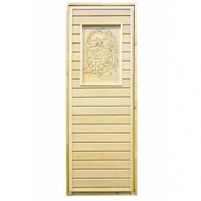 Дверь для бауни и сауны глухая с резьбой