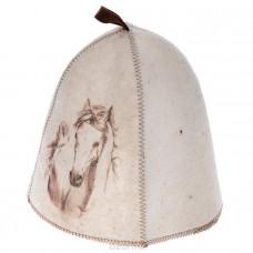 Шапка для сауны принт Лошадь, войлок А332 (Е)