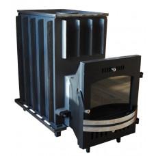 Топочный агрегат для бани Сударушка Семейная чугунная дверь с панорамным стеклом
