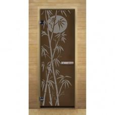 """Дверь для бани и сауны Lk Дс Бронза Матовая Рис. """"Бамбук"""""""