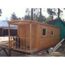 Перевозная мобильная баня 2,3х7 м с террасой