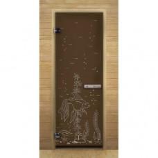 """Дверь для бани и сауны Lk Дс Бронза Матовая Рис. """"Рыбка"""""""