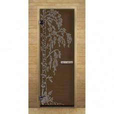 """Дверь для бани и сауны Lk Дс Бронза Матовая Рис. """"Березка"""""""