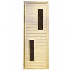 Дверь для бани и сауны с двумя стеклами (2)