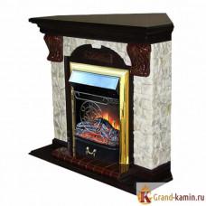 Угловой каминокомплект Арочный Арбат (дуб) с очагом Majestic Brass