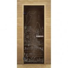 """Дверь для бани и сауны Lk Дс Бронза Рис. """"Банька"""""""