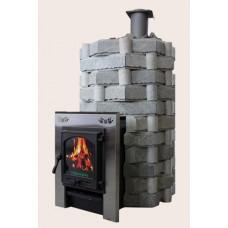Чугунная печь Карелия-5 Премиум, закрытая каменка, облицовка «Корзинка»