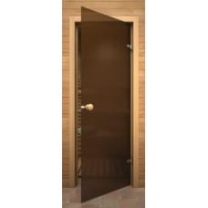 Стеклянные двери для бани и сауны Серия «Кноб» Бронза матовая