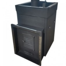 Печь банная Быстрица-24 с закрытой каменкой и встроенным теплообменником ТеплоСталь