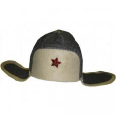 Шапка для сауны модельная Ушанка войлок со звездой (ЭС)