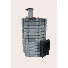 Чугунная печь Карелия-5 ПРЕМИУМ, закрытая каменка, облицовка «БРУС»