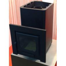 Печь «Варвара Мини» с водонагревательным контуром и панорамной дверью «ДЕРО и К» для русской бани (банная)