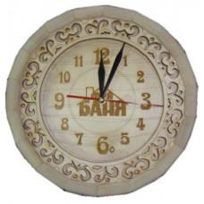 Часы Бочонок резные Моя баня (светлые) ЧБ-РС